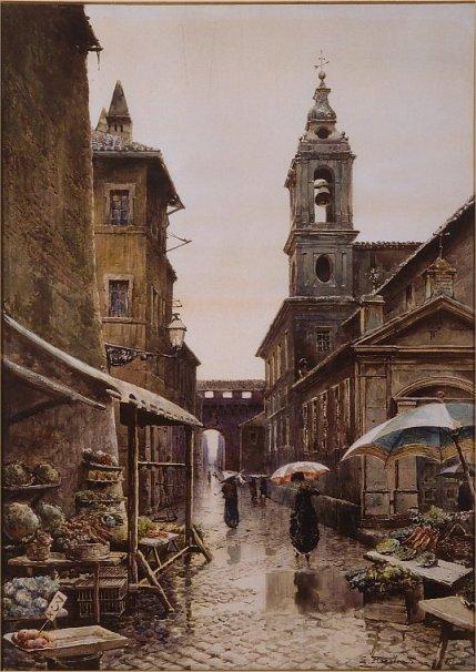 Via del Campanile in Borgo con il Campanile della Chiesa di S.Maria in Traspontina   Sullo sfondo il Passetto di Borgo.