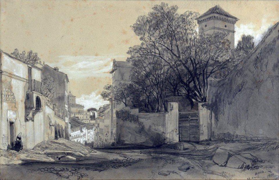 Edward Lear Ingresso di Villa Malta da via Capo le Case con sullo sfondo il Quirinale, 1838