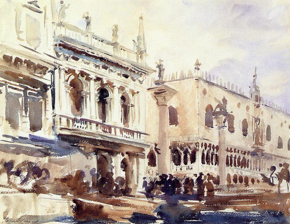 John Singer Sargent Piazzetta San Marco e il Palazzo del Doge 1907 Acquerello su carta