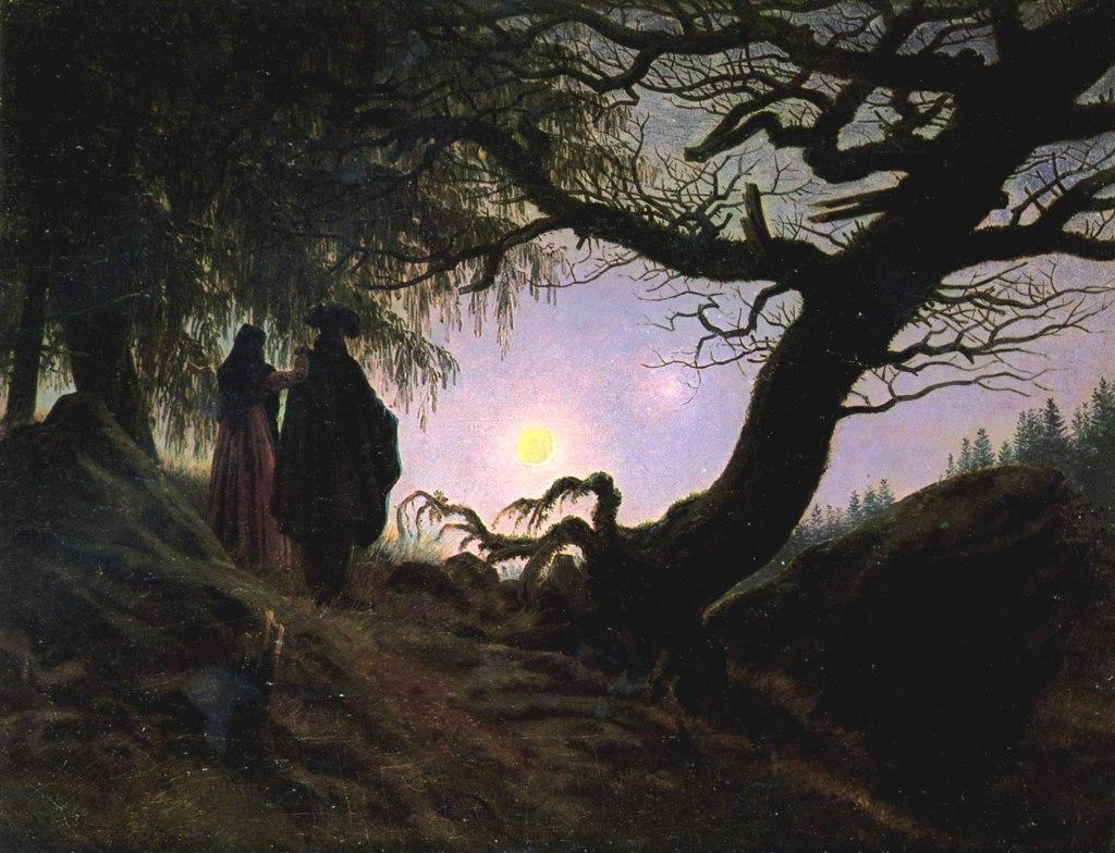Un uomo e una donna davanti alla luna 1819