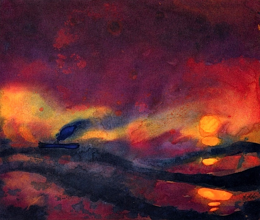 Emil Nolde  Red Sea with Setting Sun and Steamship - 1946