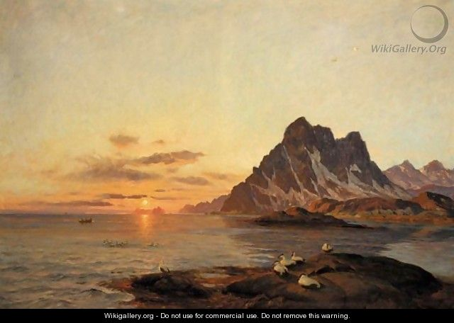 Midnight Sun At The North Cape - Thorolf Holmboe