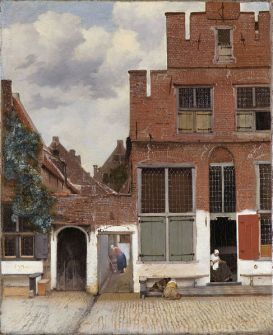 View of houses in Delft, known as 'The little street'.