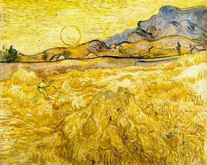 Campo di grano con falciatore Saint Rémy 1889