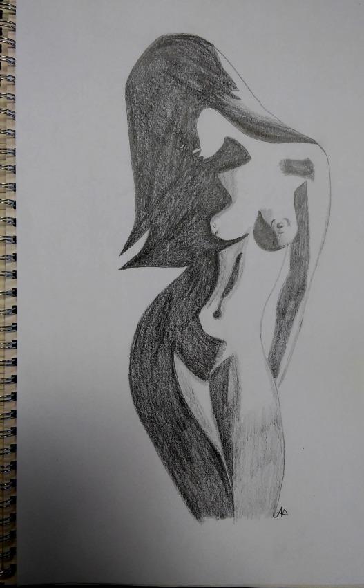 Figura in bianco e nero - grafite
