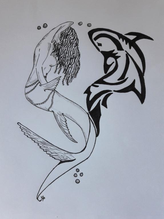 Sirena idea tattoo - ink su foglio
