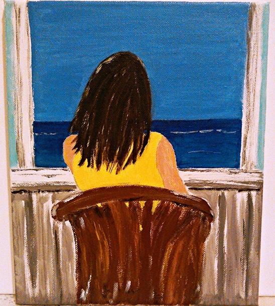 Finestra sul mare - opera dell'autore, acrilico su tela 50x50
