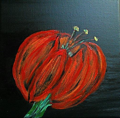 Fiore rosso - acrilico su tela