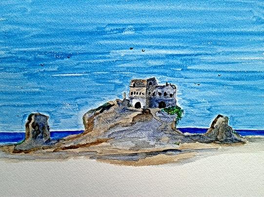 Castello sul mare - acquarello