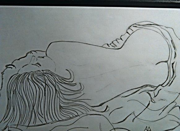 Donna che dorme - grafite su carta