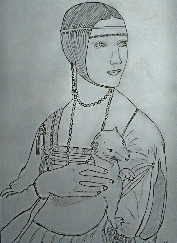 Studio Dama con ermellino - grafite su carta Fabriano