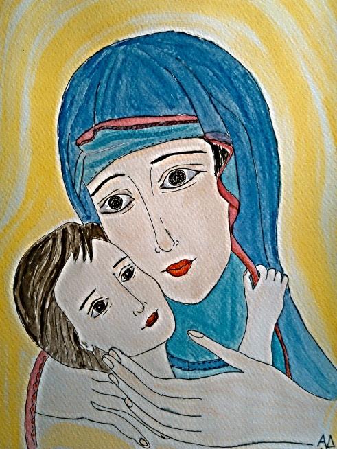 Madre con bambino - acquarello