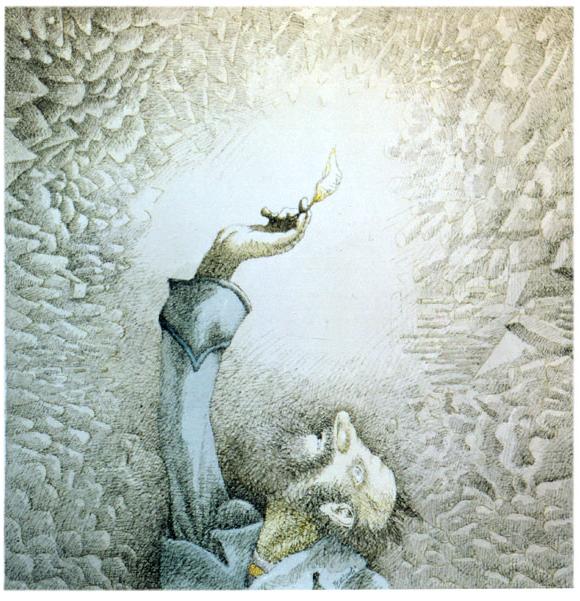Robinson nella caverna, 1984 di Tullio Pericoli - acquarello e china su carta