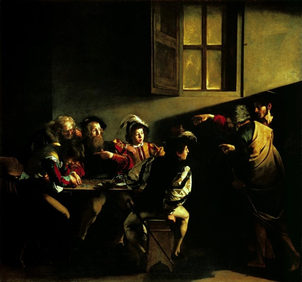 Vocazione di San Matteo - 1599/1600 olio su tela 322 x 340 cm - Caravaggio