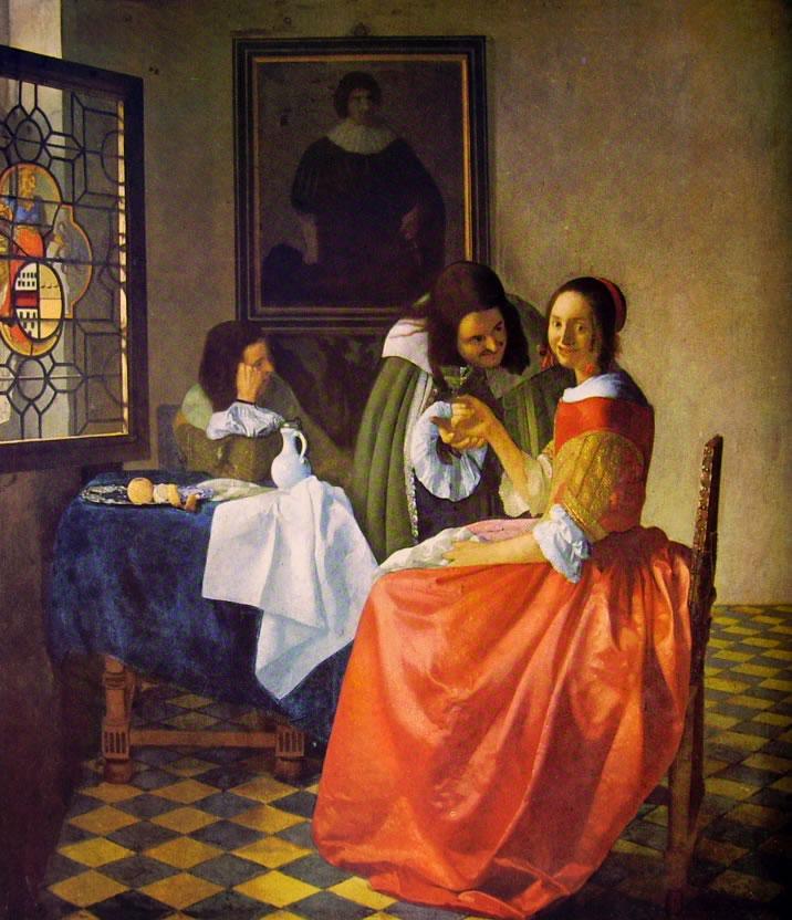 J. Vermeer - Giovane donna con bicchiere di vino, 1559 circa