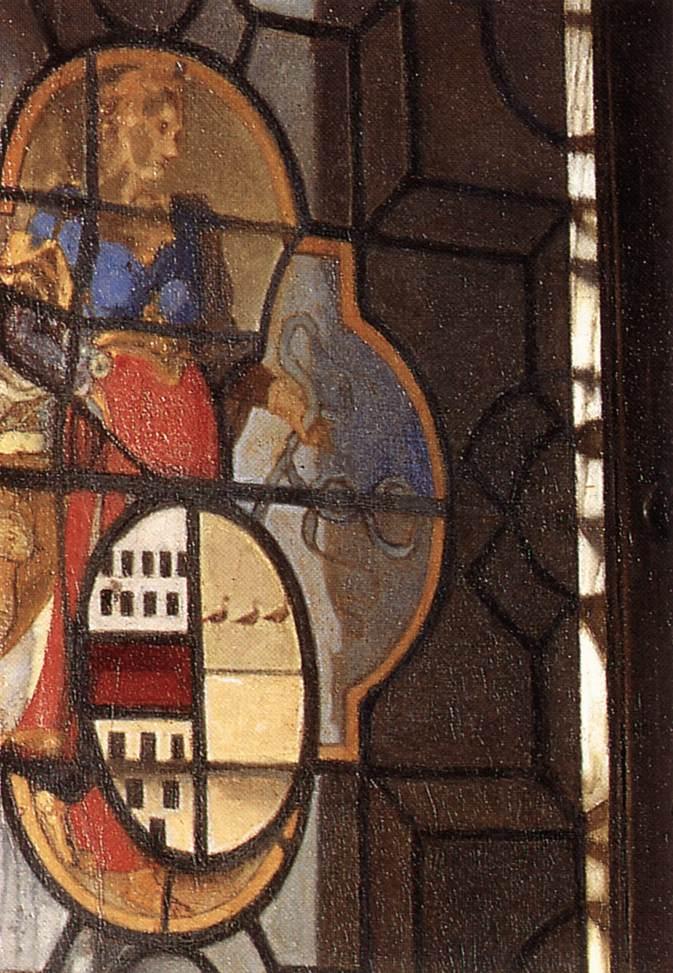 Dettaglio della finestra legata a piombo