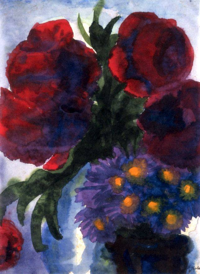 Emil Nolde Poppies and Violet Asters