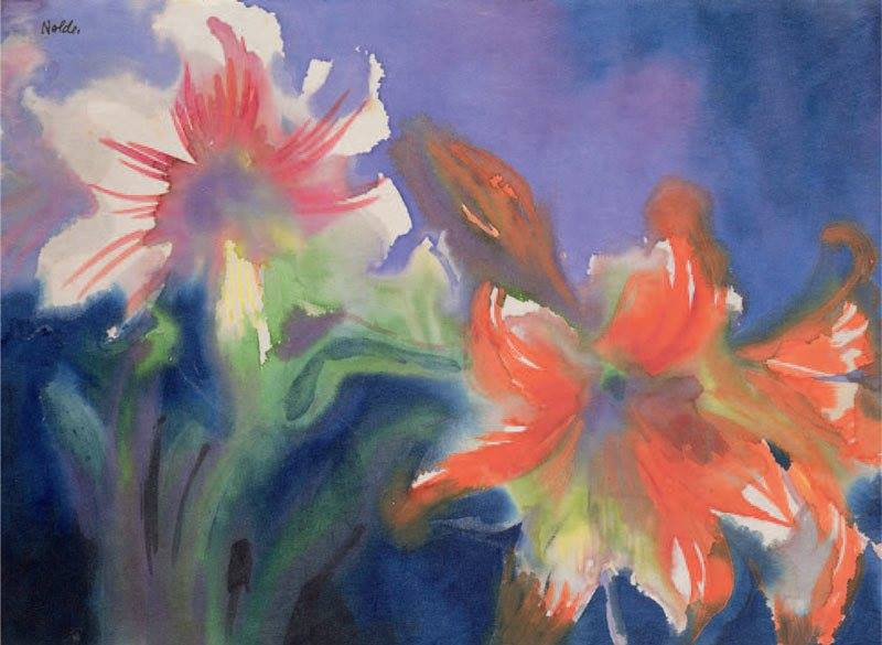Emil Nolde White and Red Amaryllis