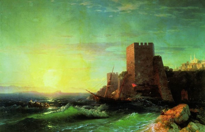 Ivan Konstantinovich Aivazovsky Towers on a rock near the Bosphorus, 1859