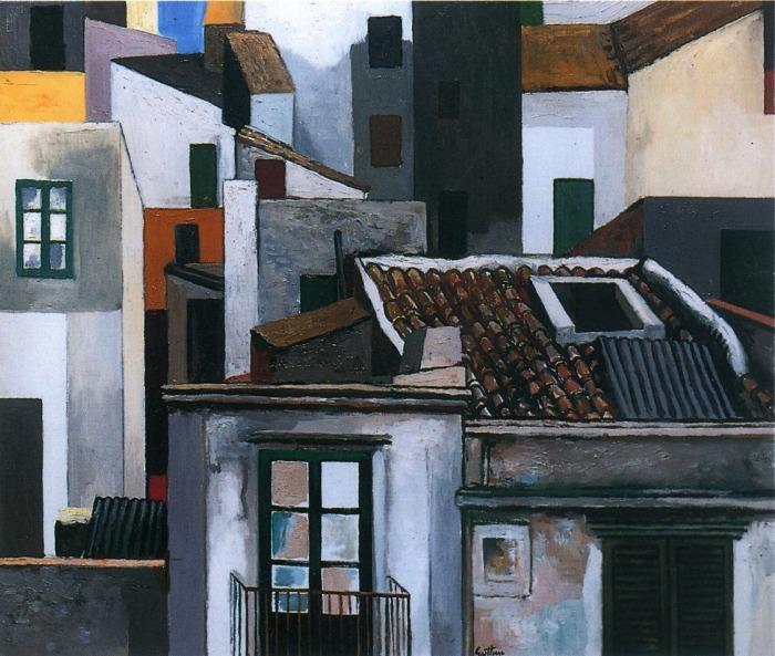 Guttuso - Case di-Palermo, 1976 - olio 50 x 70