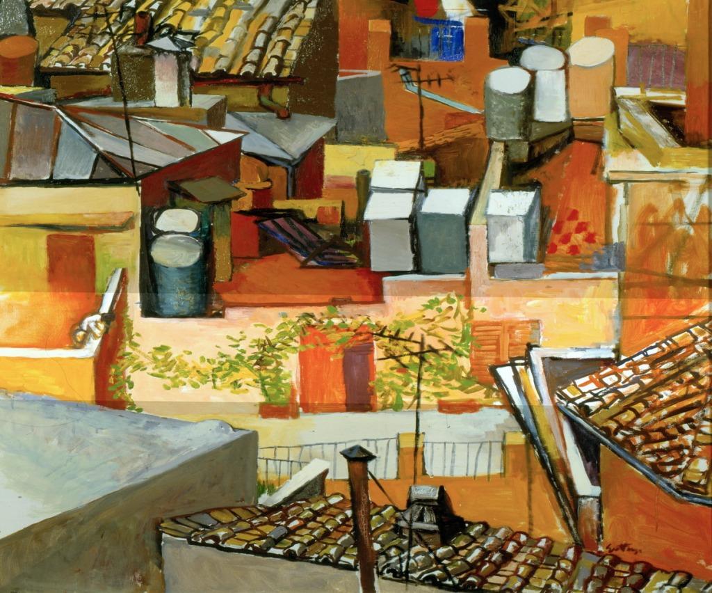 I tetti di via leonina con rampicante 1962-64 - olio 106 x 85