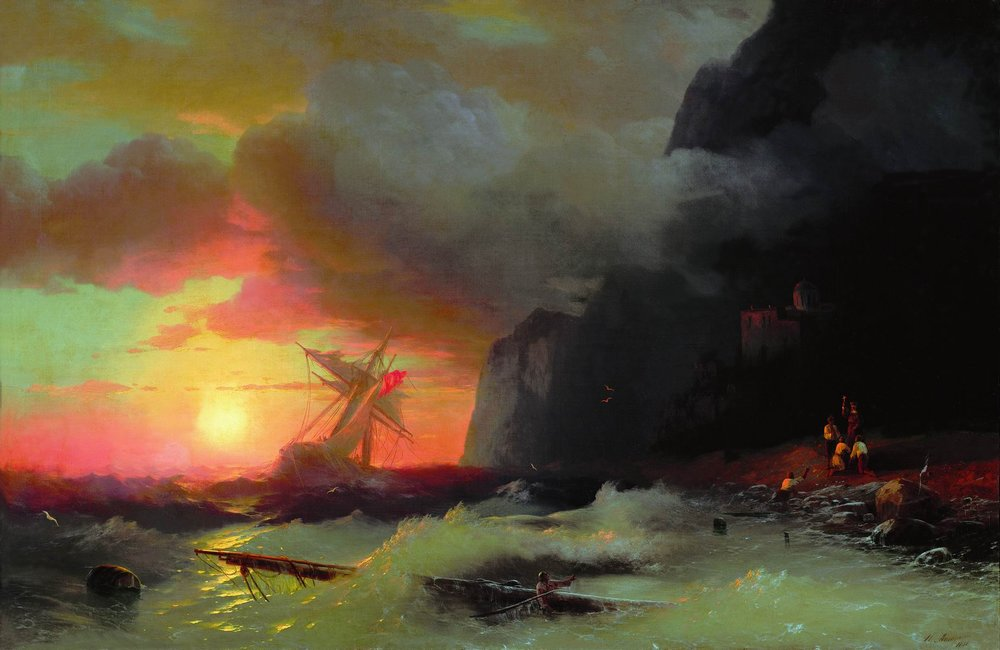 Ivan Konstantinovich Aivazovsky - Shipwreck near Mount Athos 1856