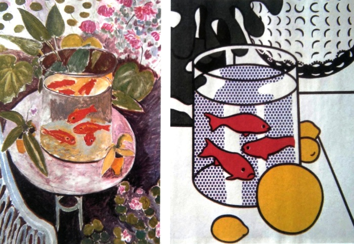 H.Matisse, I pesci rossi, 1911 - R. Lichtenstein Natura morta con vaso di fiori e pesci rossi, 1972