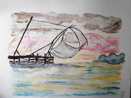 Trabucco sul lago - acquarello su cotone