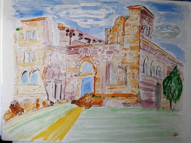 Vecchio monastero - acquarello su cotone