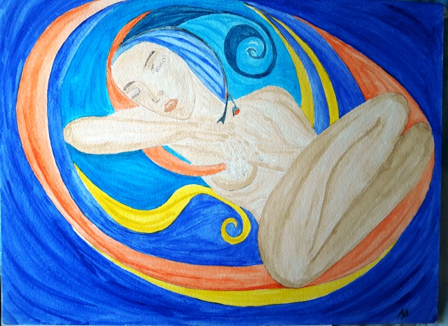 Sogno d'avorio - acquarello su cotone