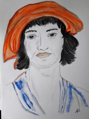 Cappello rosso con volto - acquarello su cotone