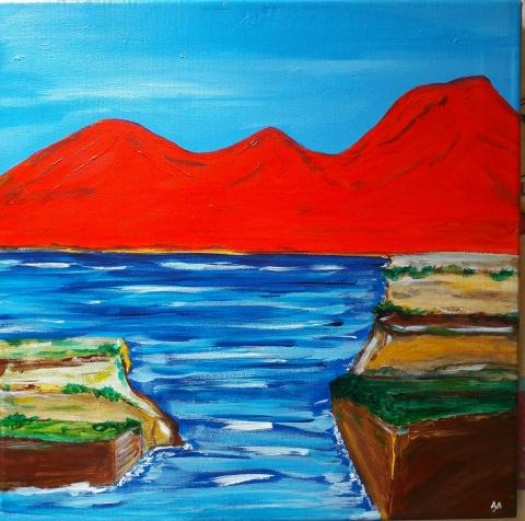 Montagne rosse - acrilico su tela