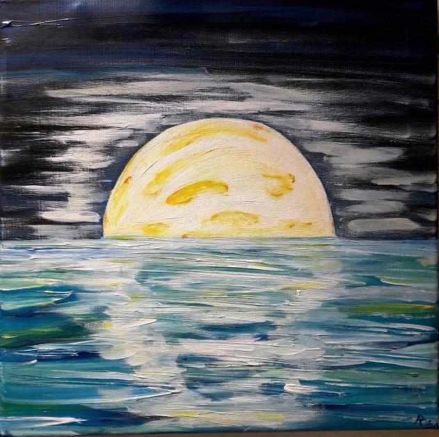 Forse una luna sul mare - acrilico su tela