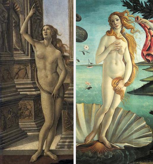 Nuda Veritas e Venus Pudica - confronto